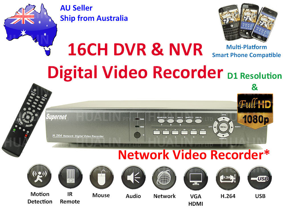 16CH Channel H.264 CCTV Surveillance Security Network DVR System D1 Resolution HD