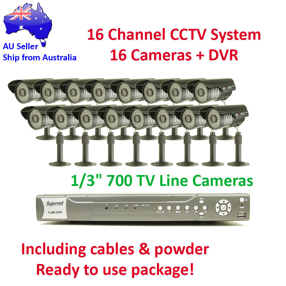 16 Channel Outdoor Day & Night CCTV Video Surveillance 700TVL Camera System