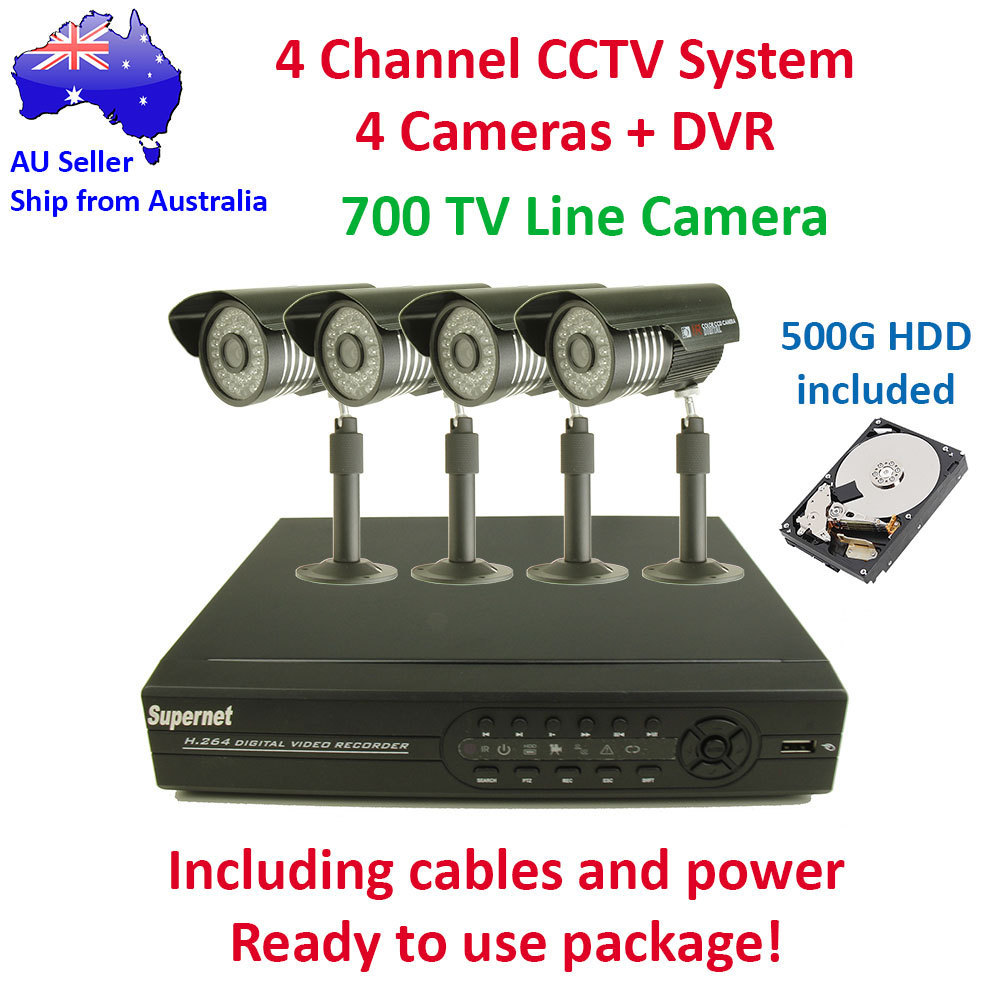 DIY 4 Outdoor IR CCTV Video Surveillance Security System 700TVL Camera DVR 500GB