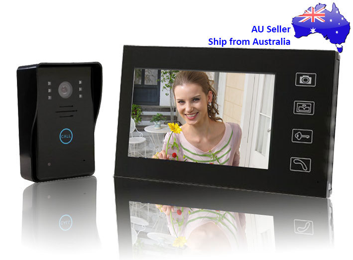 "7"" Wireless 2.4G Touch Video Door Phone Intercom System doorbell Peephole Viewer"