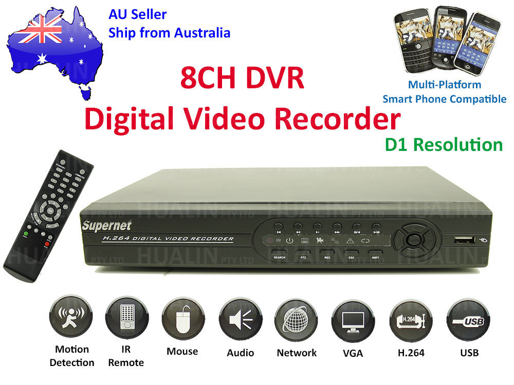 8CH Channel H.264 CCTV Surveillance Security Network DVR System D1 Resolution HD