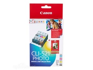 Genuine Canon CLI-521 BK/Y/C/M Genuine Ink Value Pack- 4 Pack