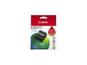 Genuine Canon CLI-526 BK/Y/C/M Genuine Ink Value Pack- 4 Pack