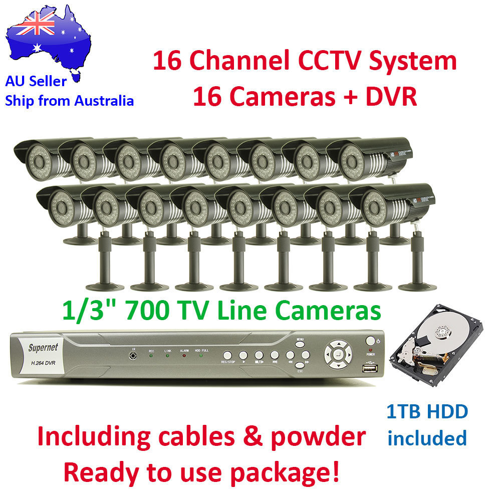 16 Channel Outdoor Day & Night CCTV Video Surveillance 700TVL Camera System 1TB