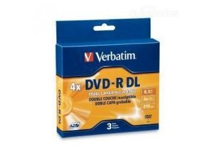 Verbatim DVD-R 4x Double Layer 8.5GB 3Pk Jewel Case