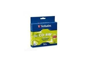 Verbatim CD-RW 700MB 5Pk Slim 4x-12x High Speed