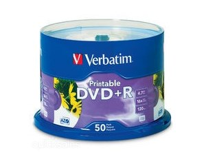 Verbatim DVD+R 50Pk 16 Speed White Printable