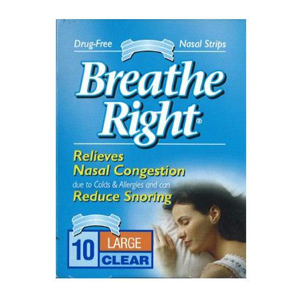 Breathe Right Nasal Clear Large Congestion Box of 10 - Eliminate snoring!